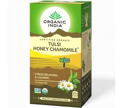 Чай базиликовый Мед и Ромашка Органик Индия, Tulsi Honey Chamomile Organic India, 25 пак