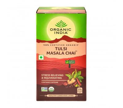Тулси Масала Чай Органик Индия, Tulsi Masala Chai Tea Organic India, 25 пакетиков