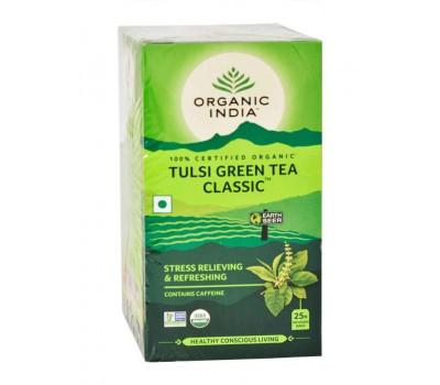 Тулси зеленый чай классический антистресс Органик Индия, Tulsi Green Tea Classic Organic India , 25 пак