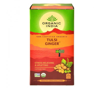 Тулси Джинджер Органик Индия, Tulsi Ginger tea Organic India, 25 пак