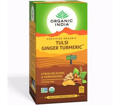 Тулси Имбирь Куркума Органик Индия, Tulsi Ginger Turmeric Organic India, 25 пак.