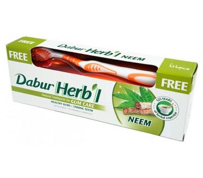 ХЕРБЛ НИМ зубная паста + щетка (Herb'l  Neem Toothpaste) Dabur, 150 гр